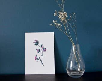 A5 rose branch giclée art print - plant - watercolor painting - ink - botanical illustration