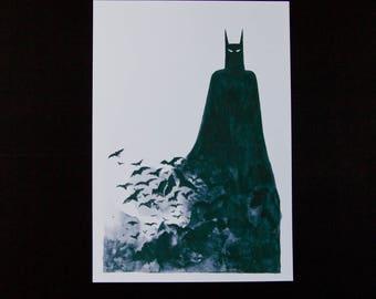 A4 batman giclée art print - bats - fan art - batman - superhero