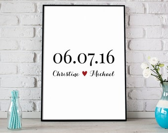 Anniversary Date with Couples Names, Special Date Keepsake, Valentines Day Gift, Wedding Gift, Personalized Gift For Couples - (D138)