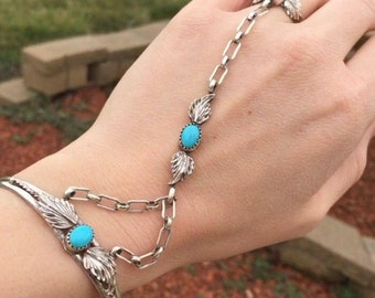 Vintage Turquoise Gemstone and Sterling Silver Slave Bracelet, Cuff, Chain, Ring. Used Native American Jewelry