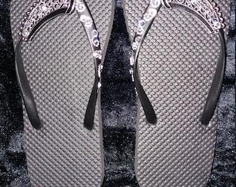 Blinged flip flops size 7-8 uk