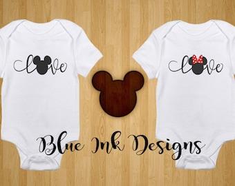 Minnie Love Onesie, Mickey Love Onesie, Mickey Minnie Love Onesie, Disney Love Onesie, Disney Onesie, Disney Baby Gift
