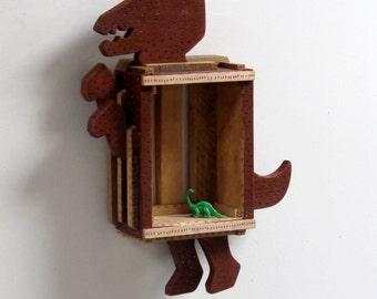 Kids Furniture, Dinosaur, Kids Shelf, Dinosaur Decor, Wood Toy, Painted Shelf, Waldorf Toy, Animal Decor, Reclaimed Wood, Display Cabinet