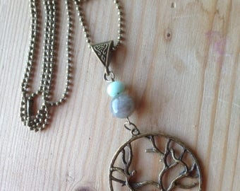 Pendant * the tree of the world *, labradorite (12 minutes), amazonite, tree of life and bronze, gift
