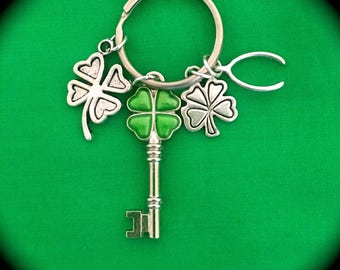 4-LEAF CLOVER KEYCHAIN &  Four 4-Leaf Clover St. Patrick's Day Foil Stickers...4-Leaf Clover Charms, Wishbone Charm