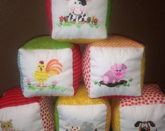 Custom Fabric Baby Blocks, Set of 6
