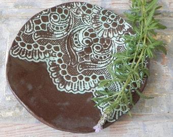 brown blue lace platter