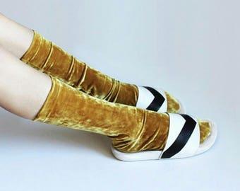 Velvet gold marble socks / Velour socks / Universal size hosiery