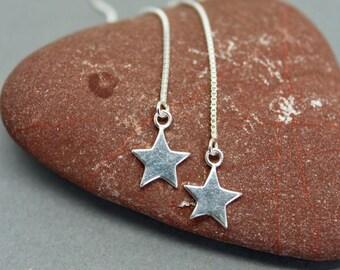 Silver star thread earrings, long star earrings, thread earrings, star thread earrings, long star earrings, dangly star earrings