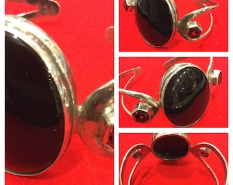 Sterling Silver Cuff Bracelet with Garnets and Large Black Onyx