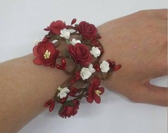 Red Rose Vine Bracelet
