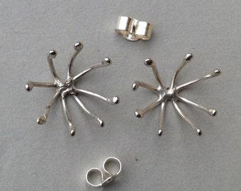 Open seed head stud earrings -sterling silver