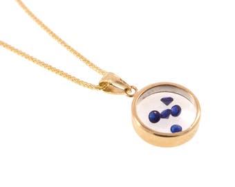 Sapphire pendant - 14k gold pendant - glass pendant - blue Sapphire pendant - September birthstone - 14k Sapphire necklace - glass necklace