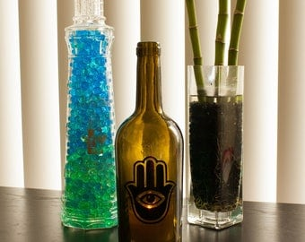 Recycled wine bottle lantern - Hamsa Hand candle holder -recycled bottle hurricane candle - wine bottle lantterns - wine bottle lamp