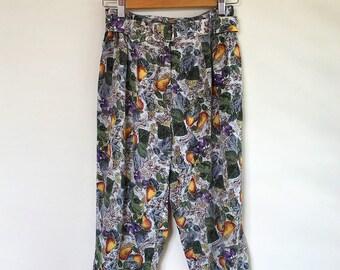 High waisted fruit print cotton capri trousers