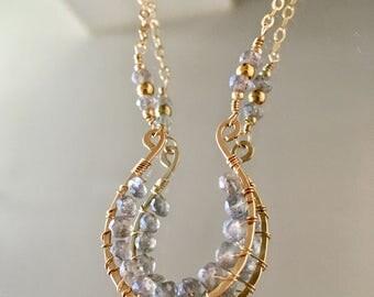Labradorite Lucky Horseshoe Necklace