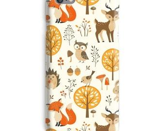 Forrest iPhone Case, Fox iphone case, Owl iphone 6 case, Deer iphone 6 case, Flowers iphone 6s case, Beige iphone case