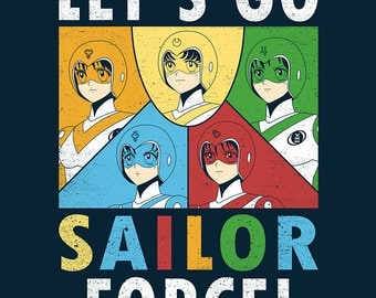 Let's Go Sailor Force - Sailor Moon Voltron  - POSTER - Anime Mashup Parody