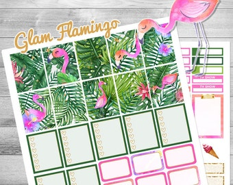 Printable planner stickers, flamingo stickers, use with Erin Condren planner,  weekly kit, monthly stickers, palm stickers, tropical, pink