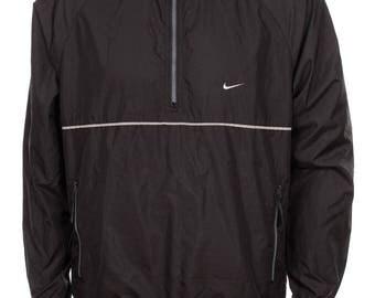 Vintage 90s Nike Soosh  1/4 zip  Windbreaker Pullover  jacket Black Size M
