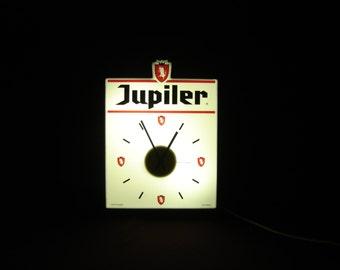 Horloge lumineuse bière Jupiler. Neon beer signboard clock for your bar. Belgique