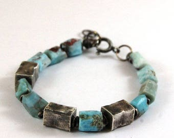 SALE 15% off !! - use the coupon code: SALE15  raw larimar silver bracelet