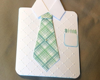 Origami shirt and tie greeting card