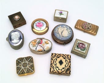 Lot of 10 Vintage Pill Boxes, Mixed Metals, Ages, and Decorative Styles