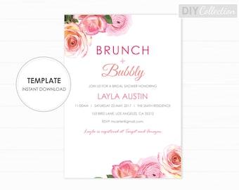 Floral bridal shower invite, Printable Bridal Shower Invite, Brunch and Bubbly Shower, INSTANT DOWNLOAD, Editable PDF, GD_WSI104