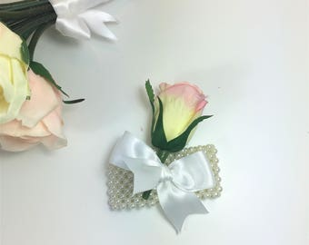 Pink & Cream Rose Wedding Corsage - Artificial Faux Wedding Roses - Wedding Bouquet Set -  Rose Corsage - 1025