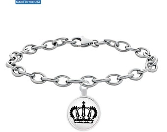 ROYAL CROWN - Silver Charm Bracelet - King Queen Crown Gift - Art - Jewelry - Made in the USA