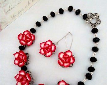 Red Jewelry Set, Black and Red Necklace Set, Red Earrings, Red Statement Necklace, Red Flower Necklace, Red Beaded Necklace