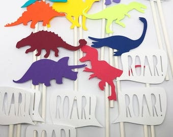 Dinosaur Cupcake Toppers: T-Rex, raptor, triceratops, pterodactyl, & more!