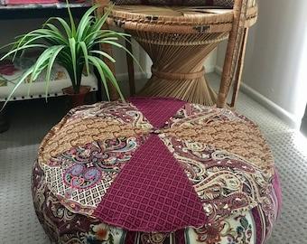 Unfilled 24 Inch Diameter Bohemian Chic Pouffe Cover Made in Australia, Meditation Cushion, Bohemian, Boho Pouf, Floor Cushion Floor Seating