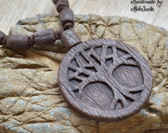Tree necklace Brown necklace Tree jewelry Brown jewelry Tree of life Boho necklace Boho pendant Boho jewelry Polymer clay Fairytale gift