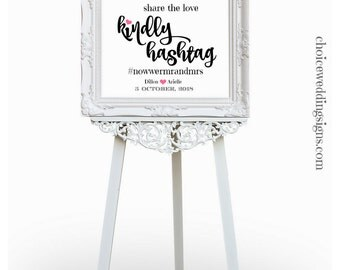 Hashtag Sign, Wedding Hashtag, Romantic Wedding Sign With Cute Hearts, Calligraphy Wedding Font Any Size Inc 8x10, PDF SKU: CWS303_1422C
