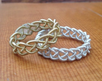 Guitar String Ring or Midi Ring, Gold or Silver Single Braid, 0.045 Gauge Strings