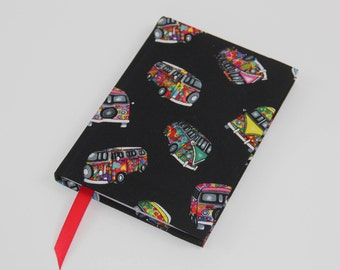A6 Lined Notebook Hand Covered in a Contemporary Campervan Fabric