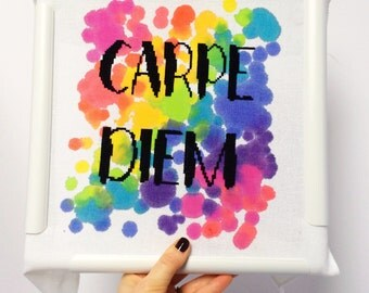 Carpe Diem// Seize the Day// Modern cross stitch kit with hand painted fabric // DIY Gift, Inspirational Quotes, Typography, Evenweave, Aida