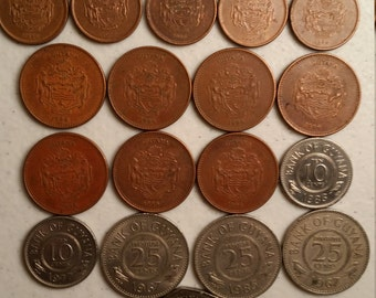 18 guyana vintage coins 1967 - 1996  - coin lot cents dollars - world foreign collector money numismatic a71