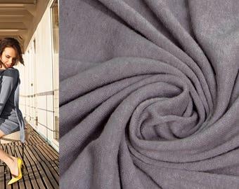 GREY Italian Wool Fabric by the Yard Knitted Angora Tricot Viscose Jersey Sweater Knit Mediumweight Soft Natural Luxury Textile Sewing DIY