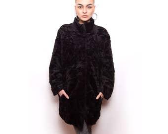 Vintage 80s Black Faux Fur Winter Coat ID:5032
