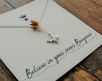 """Sterling Silver Bee Necklace """"Believe In Your Inner Beeyonce!"""" Necklace//Lariat Style//Queen Bee//Beyonce//Gold Crown"""