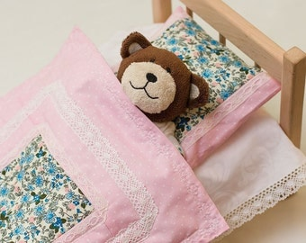 Doll bed, doll mattress, doll bedding, wooden doll bed, tufted doll mattress, baby doll bed, doll furniture, dolls wood bed, gift for girl