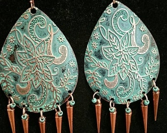0162-Patinaed solid copper earrings