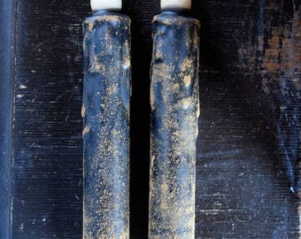 2/Set Battery Operated Timer Taper Candles, 7 inch, Grungy Wax Dipped LED candle, Primitive Decor, Country Decor, Country Craft Supply