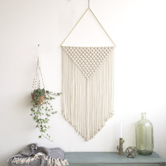"Large Macrame Wall Hanging - Macrame Curtains - Macrame Wall Art - Macrame Patterns - Wall Tapestry - Dip-dye Tapestry - Home Decor - ""ALET"""