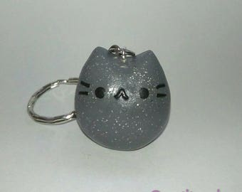 Pusheen the cat key ring facebook messenger emoji grey kitty kawaii cats key chain cute