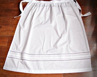 White Regency Lace Insertion Half Apron- Early 19th Century Reproduction- Empire Waist