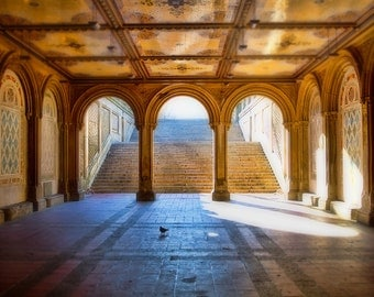 Bethesda Terrace, formal architectural feature, Central Park New York, Minton tiles,New York architecture, New York City art, NYC wall print